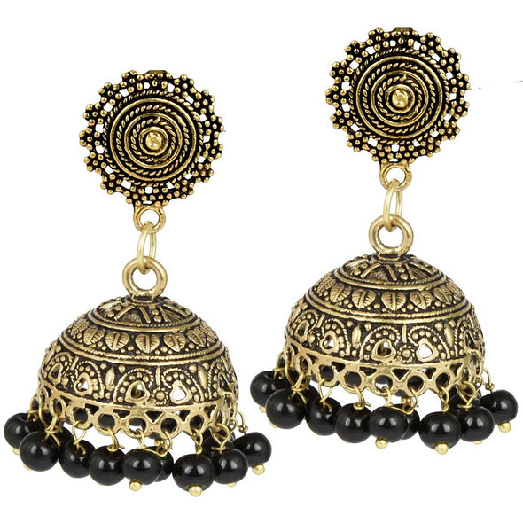 Golden Black Bead Jhumka