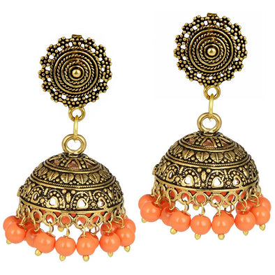 Golden Orange Beads Jhumka