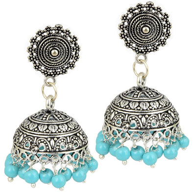 German Silver Blue Bead Jhumkas