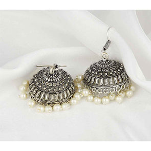 Black Metal White Beads Jhumkas