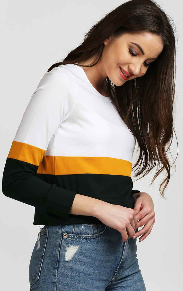 White And Black Crop Top In Mustard Stripe