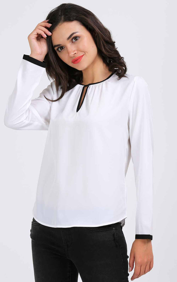 White And Black Full Sleeve Top
