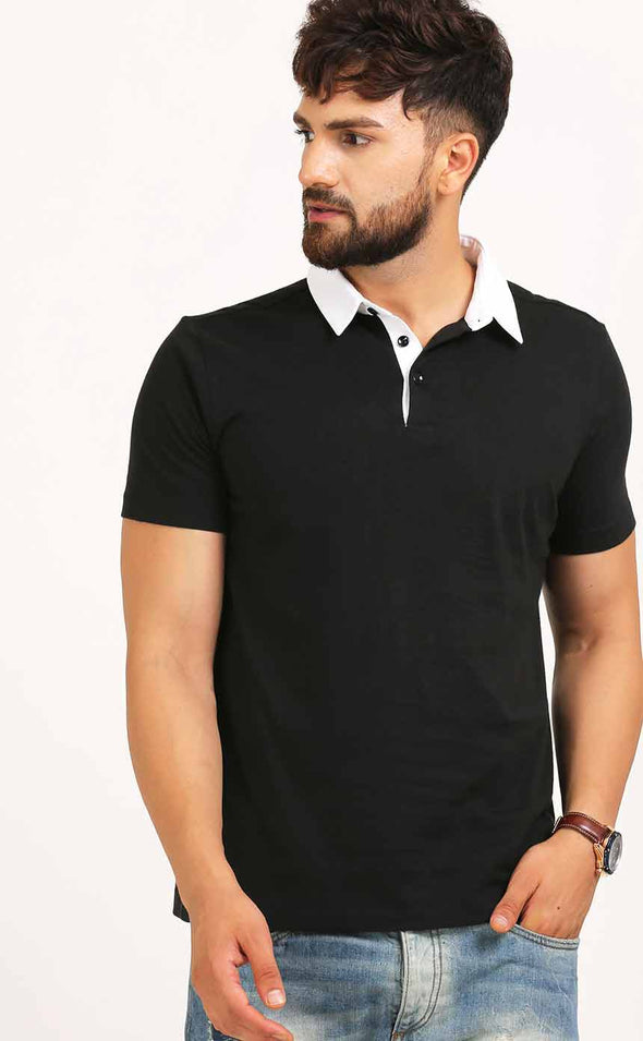 White And Black Polo T Shirt for Men