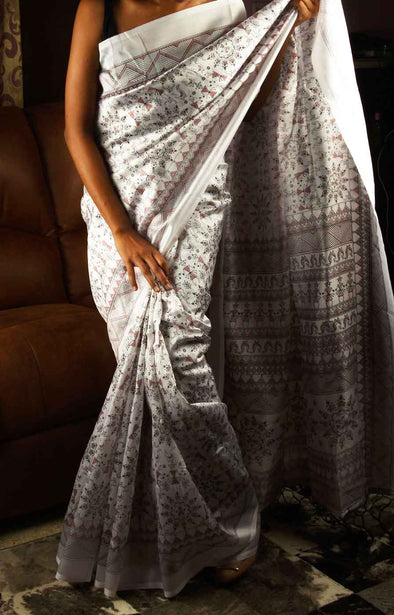 White Saree With Red Printed  Design