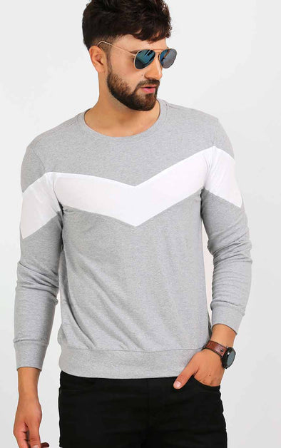 White-Stripe-Grey-T-Shirt-For-Men