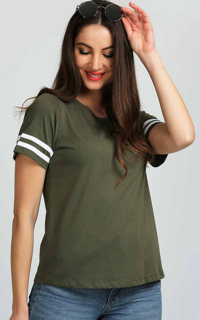 White Striped half Sleeve Top In Olive