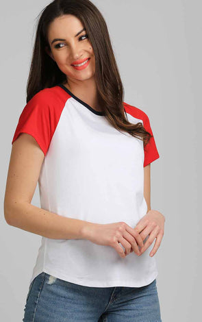 White-Top-For-Women-In-Red-Sleeve