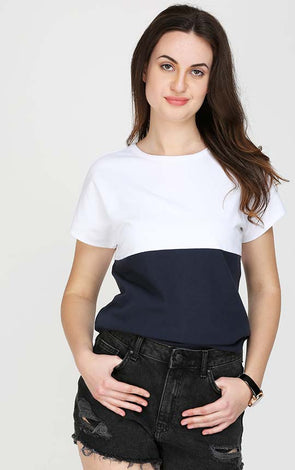 White And Blue Ladies T Shirt
