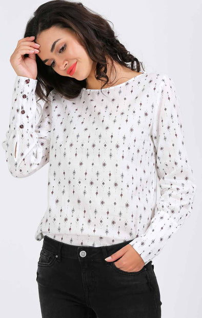 Printed White Stylish Cuff Top
