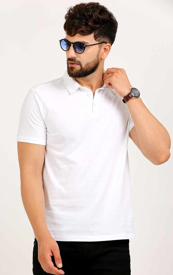 White T Shirt With Collar