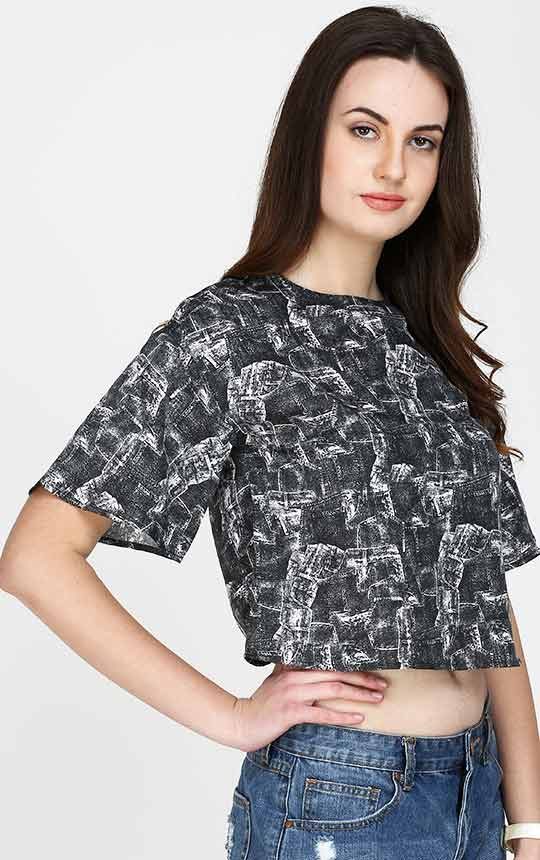 Women's Grey And Black Crop Top
