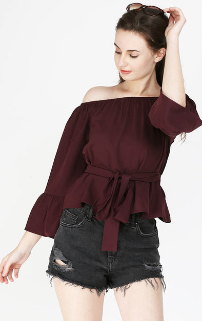 Wine Color Off The Shoulder Top
