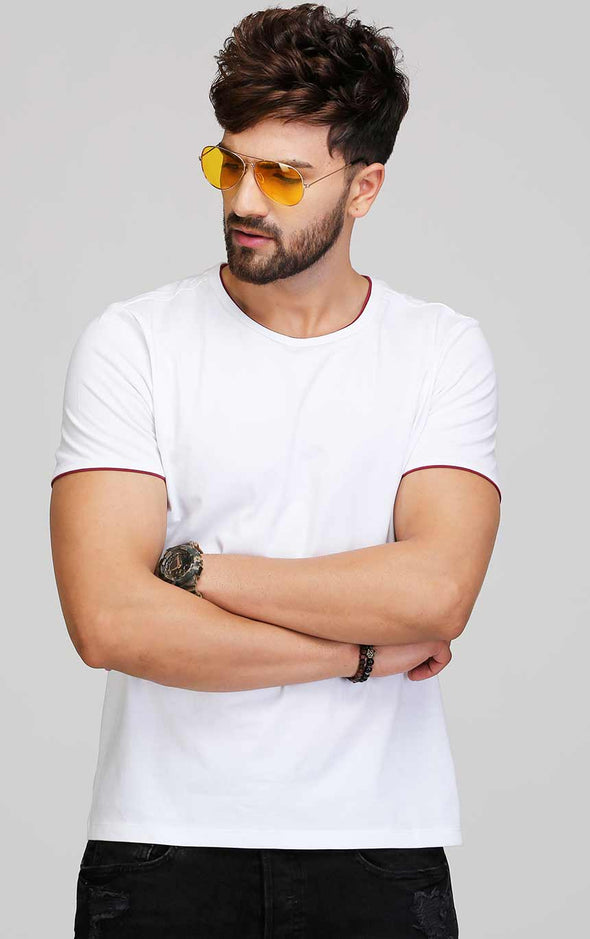 White t shirt for men designed with maroon color