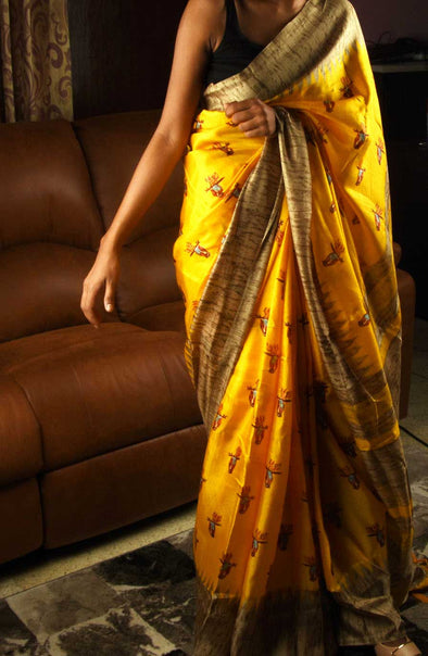 Yellow Saree Bird Print With Golden Border