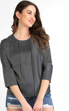 black and white stripe top for women