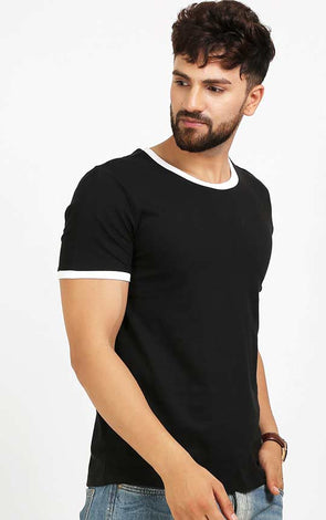 Designer Crew Neck Black T Shirt With White