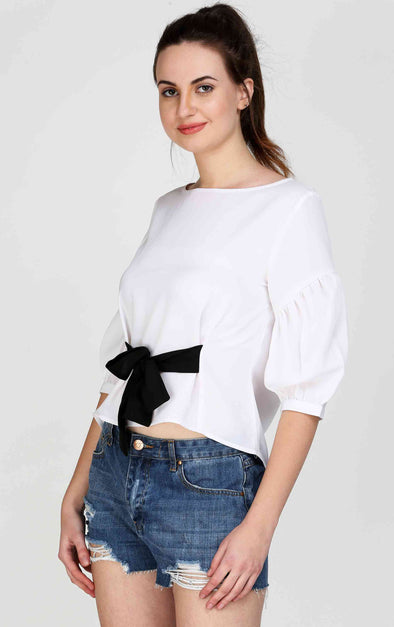 Black Bow White Fancy Top