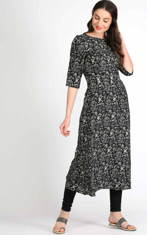 Black Floral A Line Long Kurta