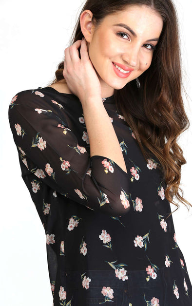 black pink floral fancy top