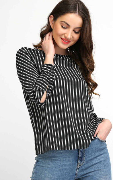 Black Striped Full Sleeve Top