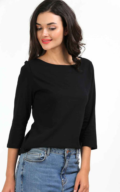 Plain Black 3/4th Sleeve T shirt