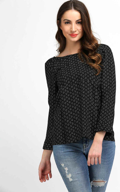 Printed Black Full Sleeve Top
