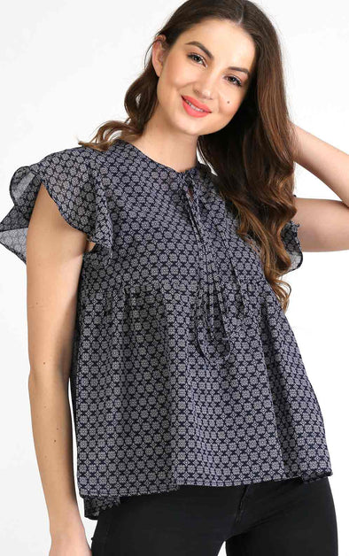 blue pattern ruffle top for women