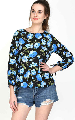Floral Bow Sleeve Women's Top