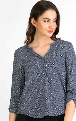 Blue Printed Full Sleeve Top