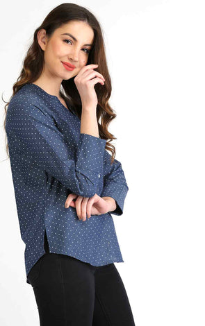 Blue dot printed full sleeve formal top for women