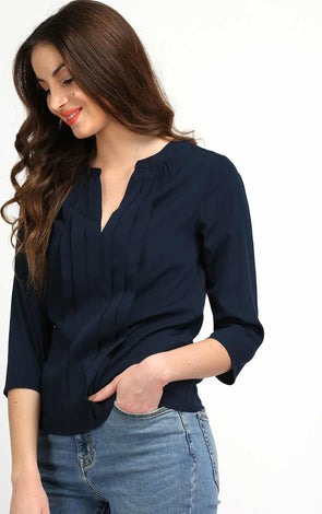 navy blue front pleated top for women