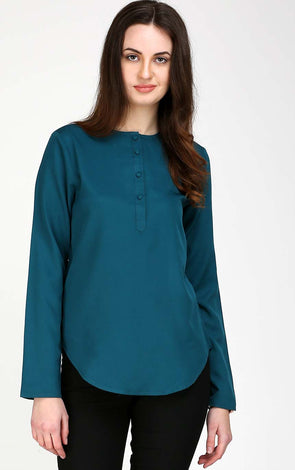 Plain Bluish Green Women's Top