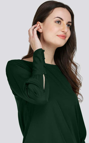 Bottle Green Stylish Cuff Women's Top