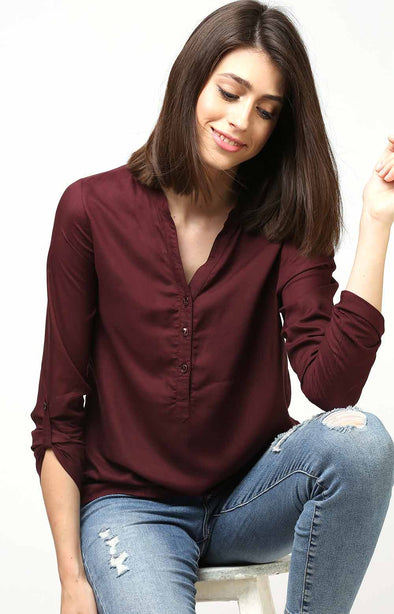 Burgundy Full Sleeve Top