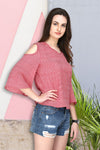 Pink Bell Sleeves Shoulder Cut Top