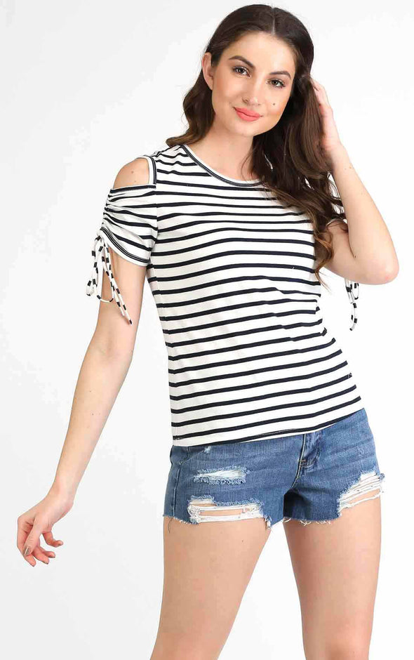 Cold Shoulder Stripe T Shirt