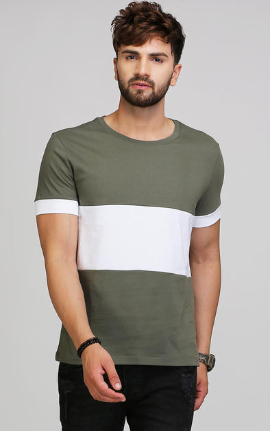 Olive and white cotton t shirt for men