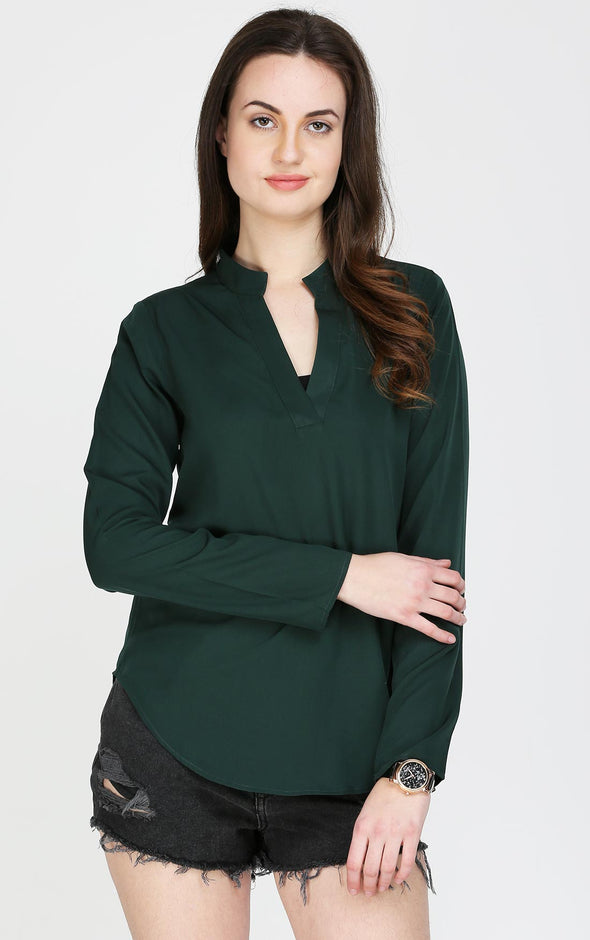 Green Full Sleeves V Neck Top