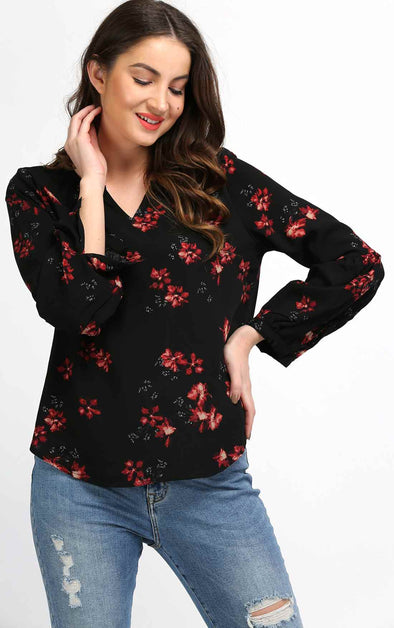 floral black full sleeve top