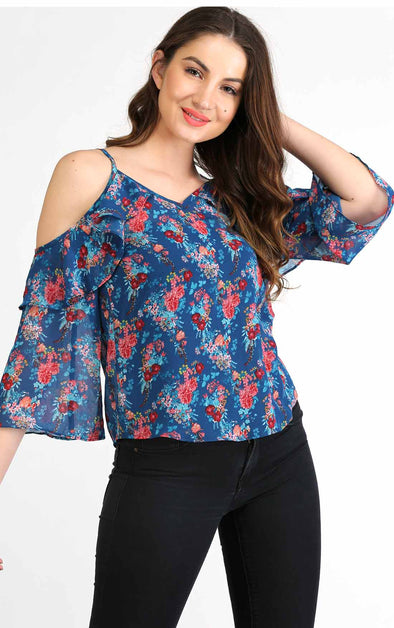 Cold shoulder top for women in blue