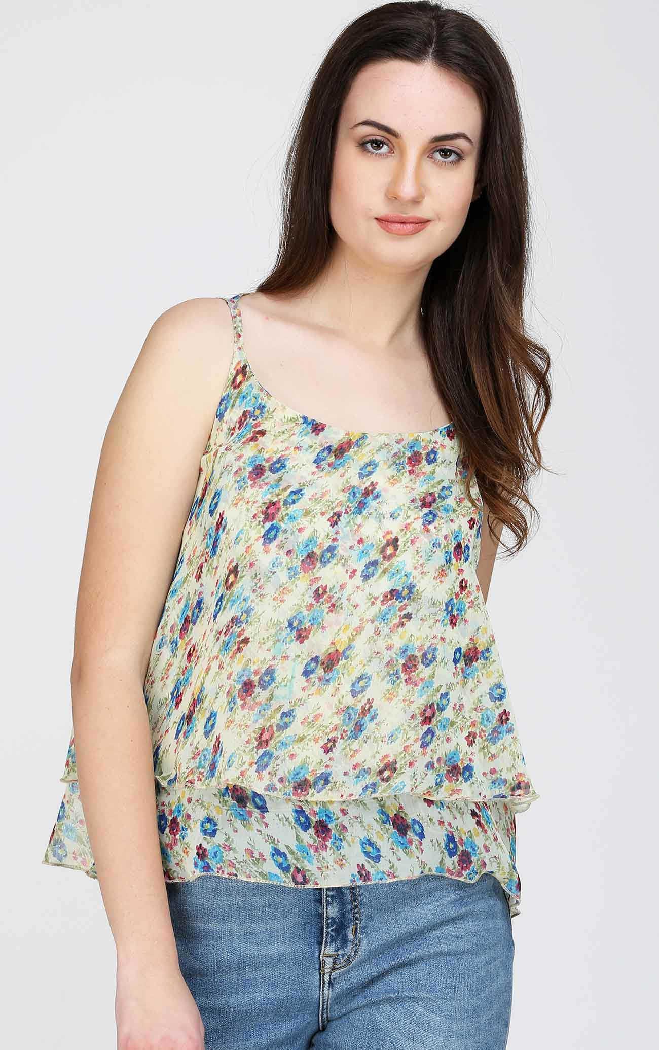 floral cross back flared cami top aelomart