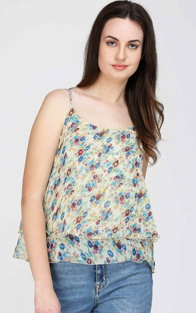 Floral Cross Back Flared Cami Top