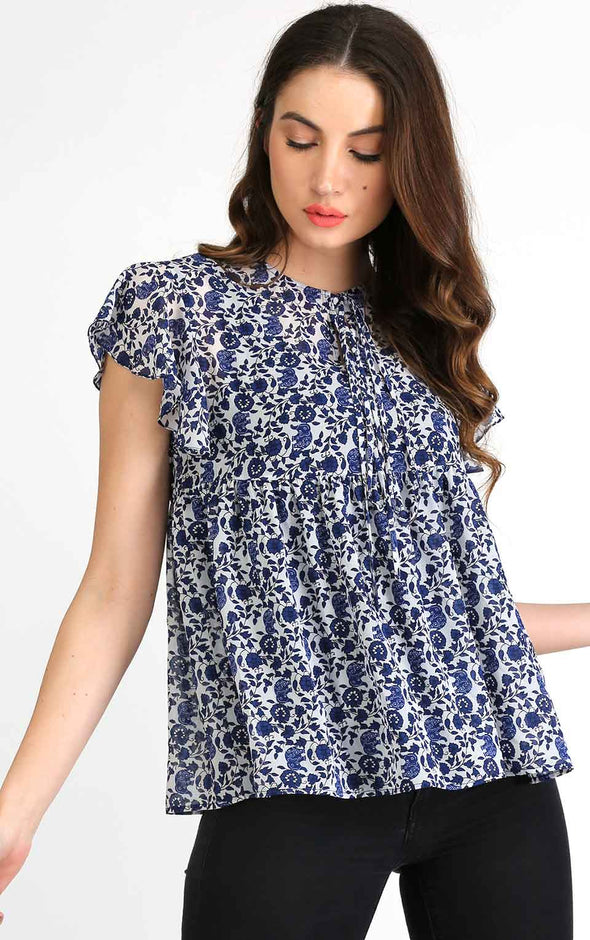 blue floral ruffle top for women