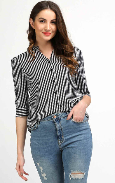 Black Mandarin Collar Top For Women