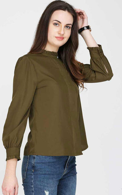 Ruffle Neck Long Sleeves Ladies Shirt
