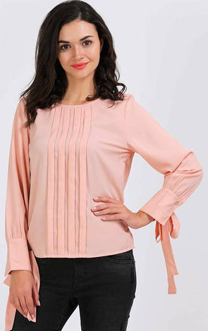 Stylish Front Pleat Pink Top