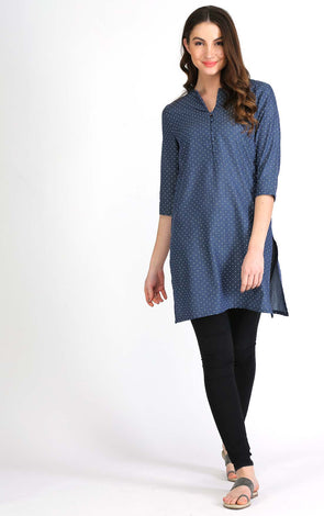 Blue Front Button Short Kurta