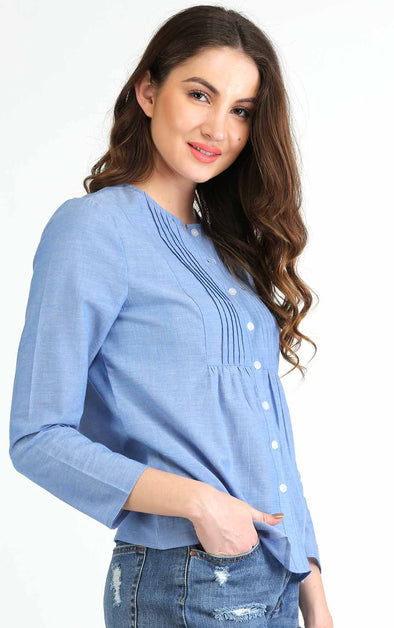 Front Pleated Blue Work Top For Women