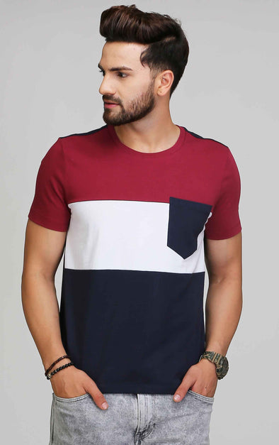 Front pocket round neck t shirt