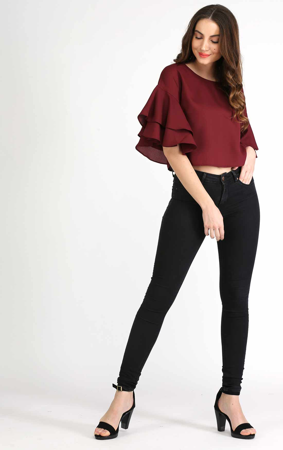65822e12d65c6c Maroon Layered Bell Sleeve Crop Top – AELOMART